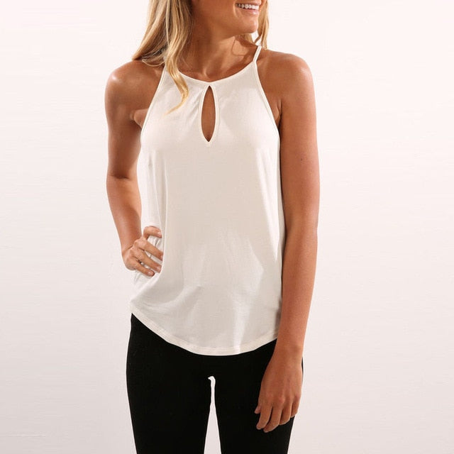 Fashion Causal Tank Top  New Women Ladies Summer Tanks Tops Sleeveless V-Neck Halter Solid Tanks Tops Beach Style Size S-XL