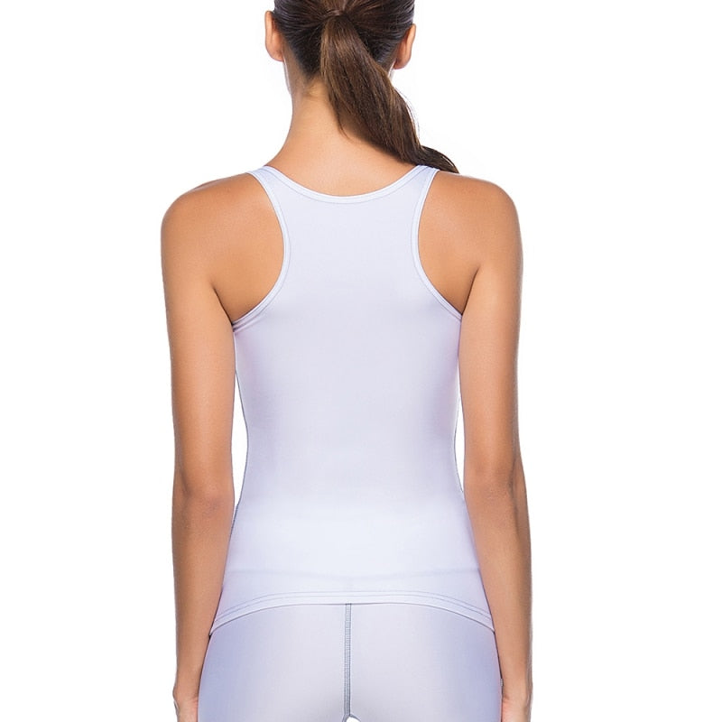 Summer Women's Tight-fitting Stitching Sports Tank Solid Color Vest Sexy Slim Sleeveless Fitness Vest