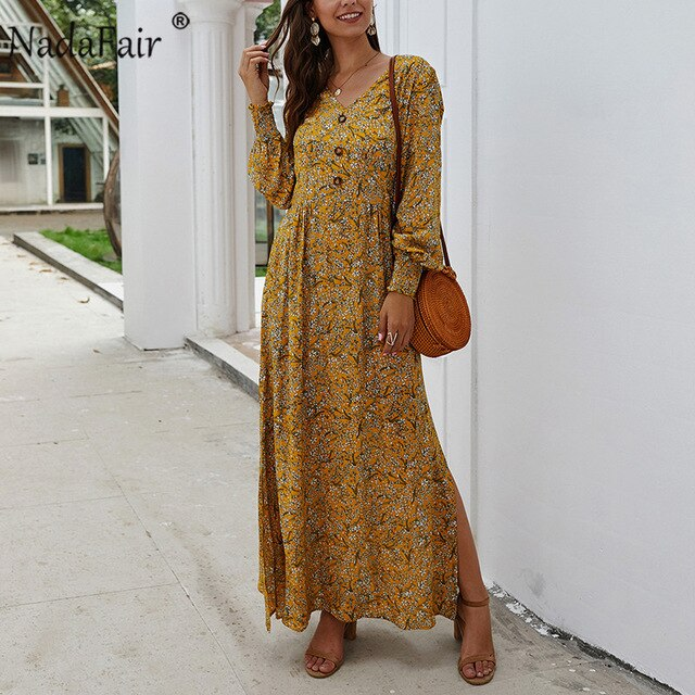 Nadafair Vintage Floral Long Dress Summer A-Line Split Lantern Long Sleeve Spring Elegant Retro Boho Maxi Dress Women Vestidos