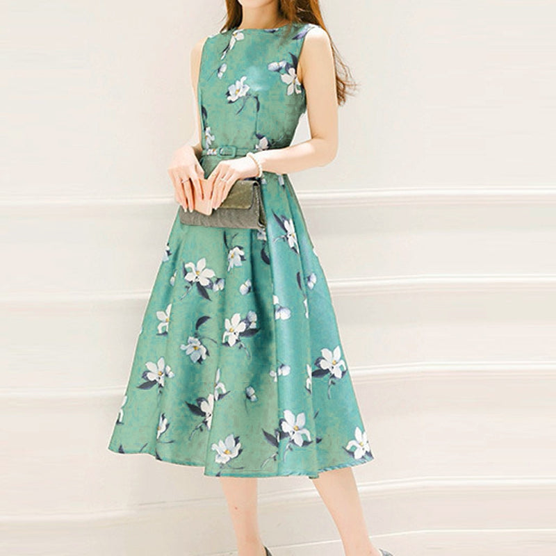 summer dress Fashion casual Women girls Summer polyester Belt Sleeveless O-Neck a-line Mid-Calf Printing M-3XL Dress Z4