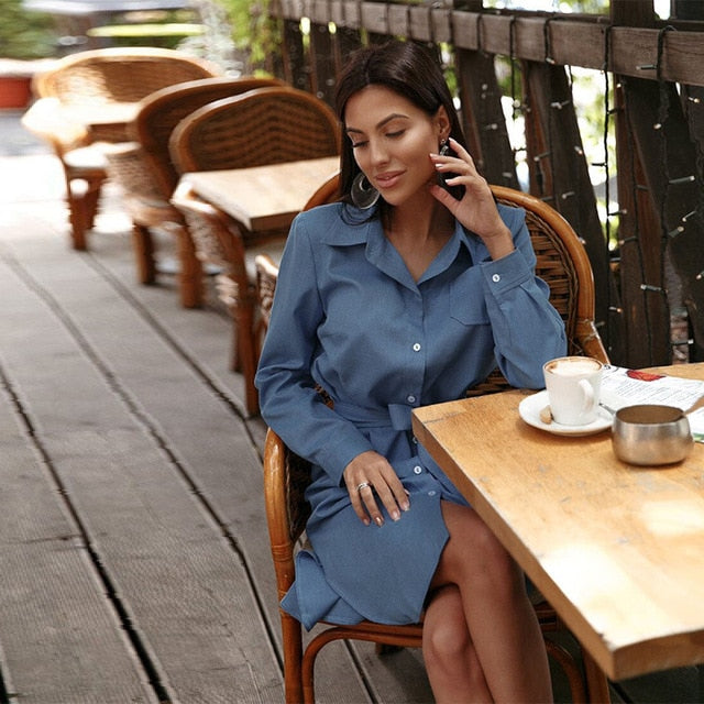 Women Vintage Sashes Front Button A-line Dress Long Sleeve Turn Down Collar Solid A-line Party Dress Early Spring New Dress