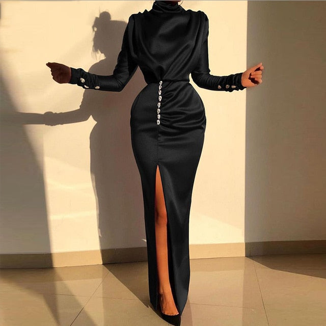 Elegant Long Sleeve Satin Dress Women Solid Split High Neck Long Maxi Dress Ladies Formal Holiday Party Dresses Vestido