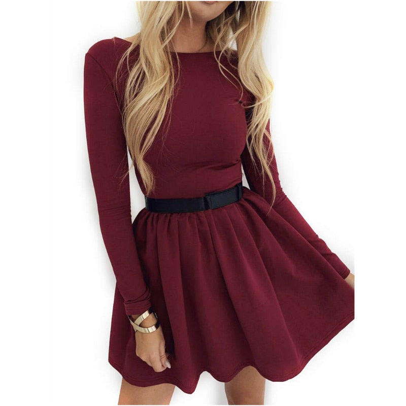 Fashion Womens Casual Midi Swing Dress Ladies Long Sleeve Party Skater Dresses Autumn Spring Vintage Party Dress Solid Clothes