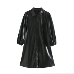Fashion Women Black Color PU Leather Mini Dress Lantern Long Sleeve Streetwear Female Dresses A Line Turn Down Collar Sundresses