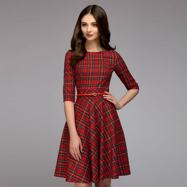 Women Elegent A-line Dress Vintage printing party vestidos Three Quarter Sleeve women Autumn Dress