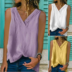 Summer Womens Large V-neck Sleeveless Plain T-shirt Casual Loose Vest Tops