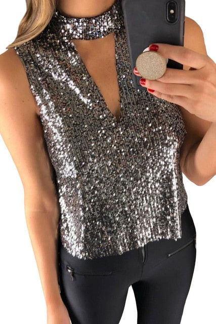 Deep V Cut Hollow-out Choker Neck Sequin Vest Women Summer Sexy Elegant Fashion Party Club Date Tanks Top Plus Size S-2XL