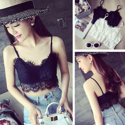 Lace Melville Padded tops spaghetti strap ladies camisole black white lace sexy tank top women summer crop top
