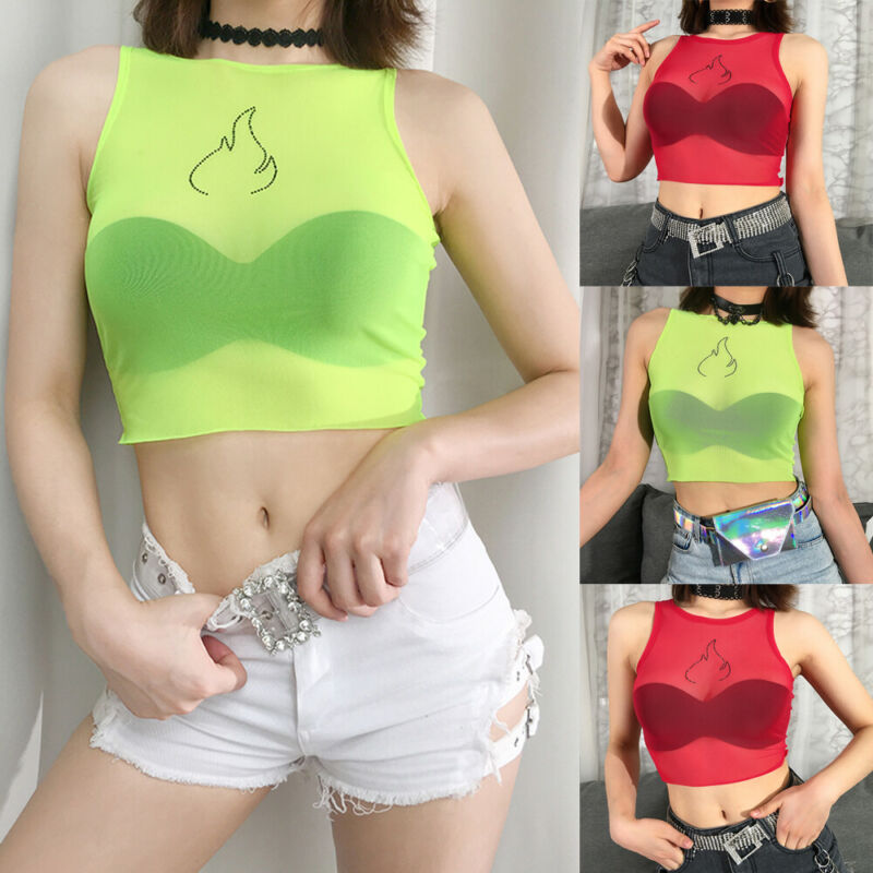 Women Sexy Flame Casual Tank Tops Vest Sleeveless Summer Crop Top