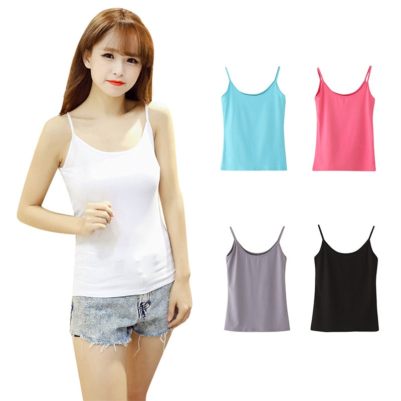 Tank top Women Summer Casual Cotton Camisoles New Tops Sleeveless T-shirt Spaghetti Strap Cropped Vest Female Camis