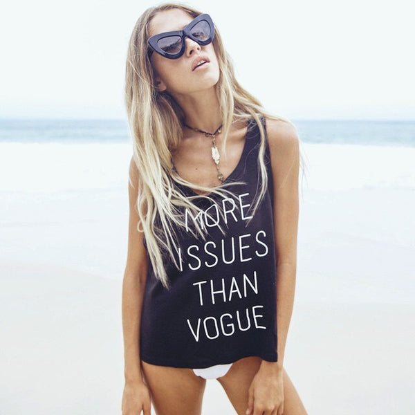 More Issues Than Vogue Letter Print Summer Ladies Tank Tops Casual Style Sleeveless Beach Holiday Women Loose Tank Top