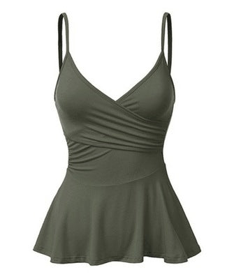 Womens Cami Everyday Dressing Sleeveless Spaghetti Shoulder Straps V-Neck Front Wrap Pleated Flared Peplum Bottom Tank Top