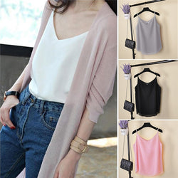 New Summer Sleeveless Shirt Sexy V-neck  Loose Casual Chiffon Tank Tops  Vest Ladies Clothing
