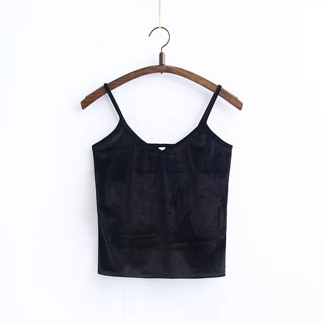 2019 Summer Fashion Casual Ladies Vest Camis Female Blusa Cropped Tops Slim Thin Sexy Velvet Women Short Tank Top