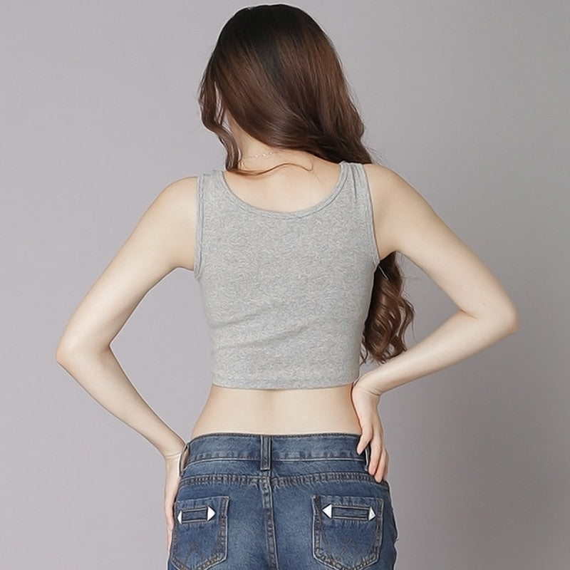 Summer Slim Render Short Top Sexy Women Sleeveless U Croptops Tank Tops Solid Black White Grey Crop Tops Vest Tube Top