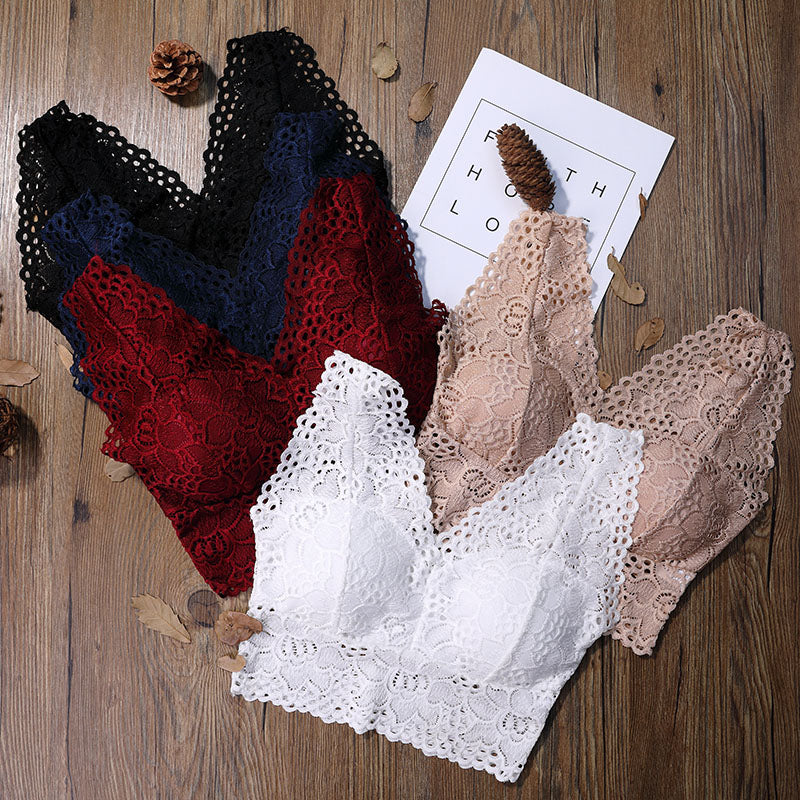 Sexy Lace Crop Top Women Fashion Floral Lace Padded Bra Tank Top V Neck Underwear  Ladies Camisole 2018 Free Ship V1