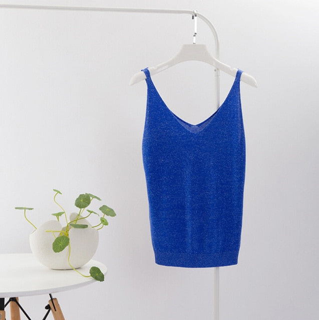 Sexy Knitted Top Tank Women Sexy V Neck Sleeveless Vest T Shirt Summer Ladies Slim Strap Short Tops Femininas