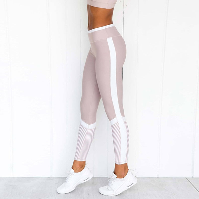 Fashion Sexy Outfit Printing Fitness Leggings Women White Stripe Print Patchwork Pants Slim Fit Hip Push Up Workout Leggings