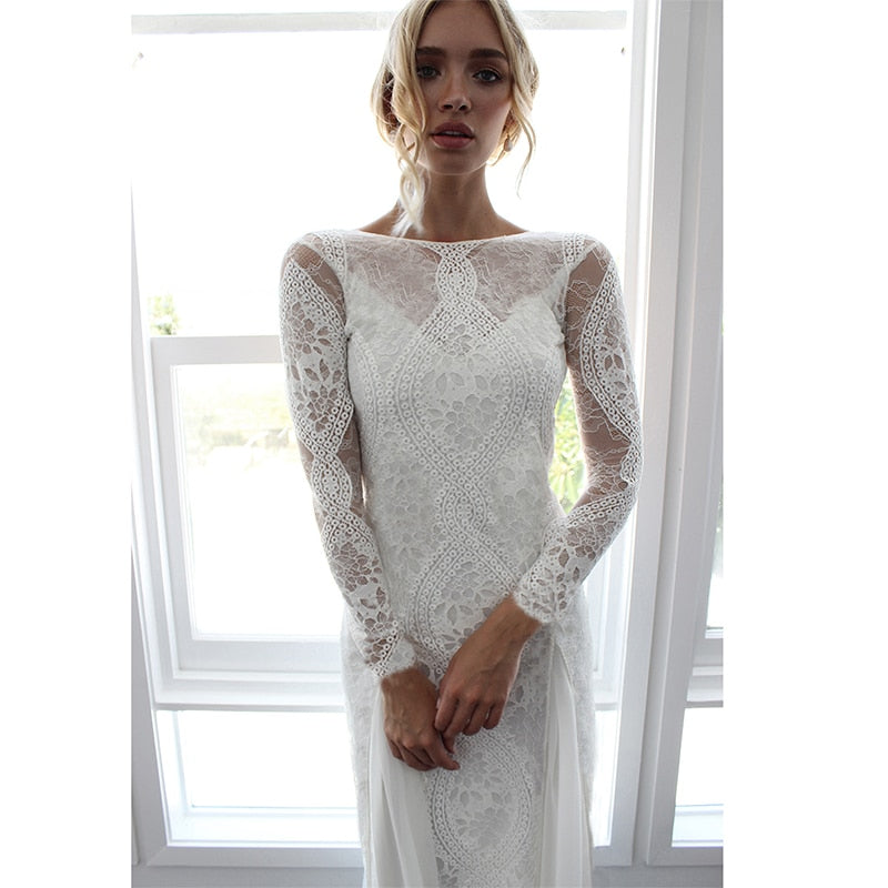 Summer Women Long Party Dress Vintage Long Sleeve Floor Length Sexy Backless White Lace Maxi Dress