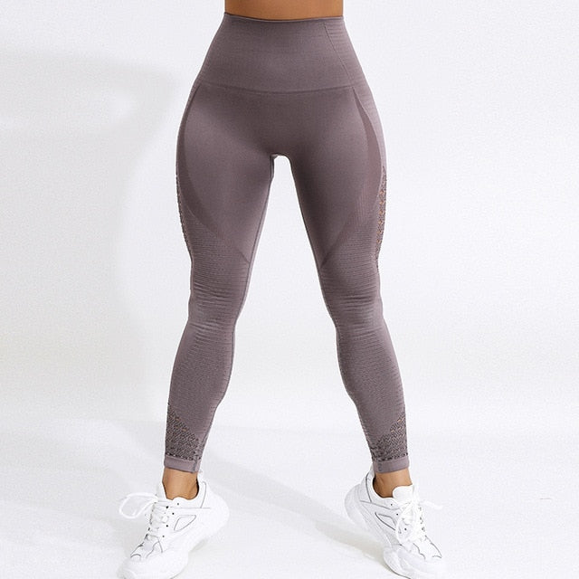 Women High Waist  Push Up Leggings Hollow Fitness Casual Outfits
