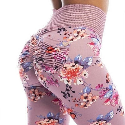 Daisy Printed Sports Booty Leggings Women High Waist Booty Scrunch Butt Leggings with Scrunch Pockets Push Up Fitness Pants