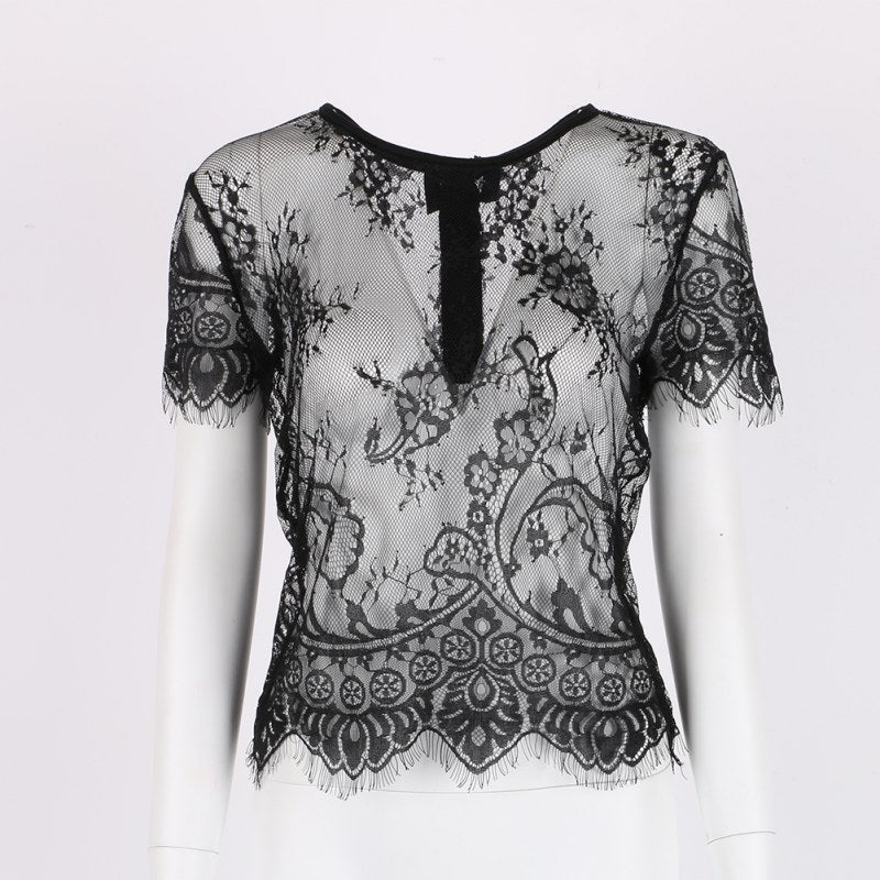 Summer Women Short Sleeve Elegant Crochet Lace Crop Top Hollow Out Tank Tops Sexy Women Blouses Short Sleeve Lace Hollow Blouse