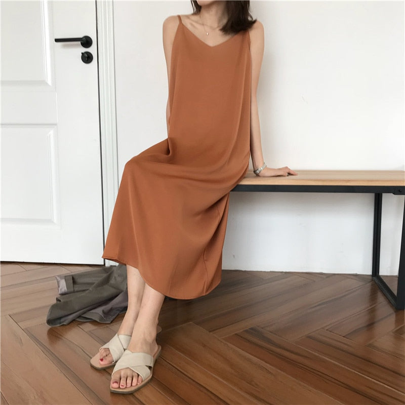 Sexy Women Dress Loose Sleeveless Dresses V-neck Sling Long Black Party Dress