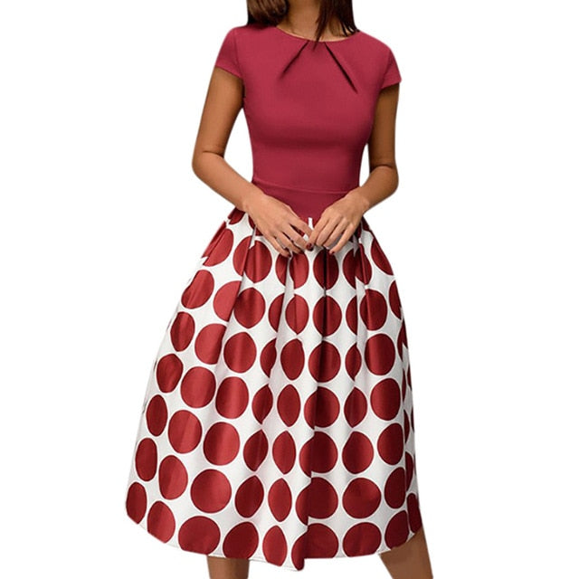 A Line Women Dress Elegant Wave Robe Femme Point Pocket Sashes Knee Length Splice Casual Dress Print Vestidos De Fiesta