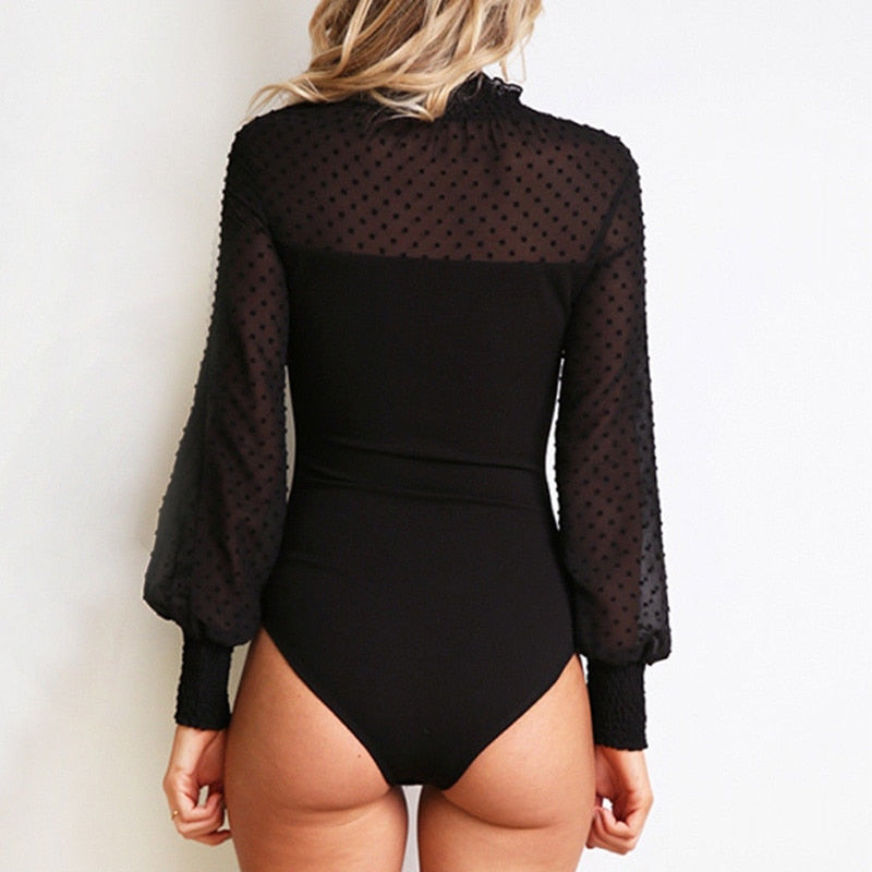 Women Patchwork Mesh Bodysuit Sexy High Neck Long Sleeve Romper Ladies Body Suit Overalls Elegant Ladies Fashion Playsuits