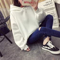 winter Casual Fleece women Hoodies Sweatshirts long sleeve yellow girl Pullovers loose Hooded Female thick coat