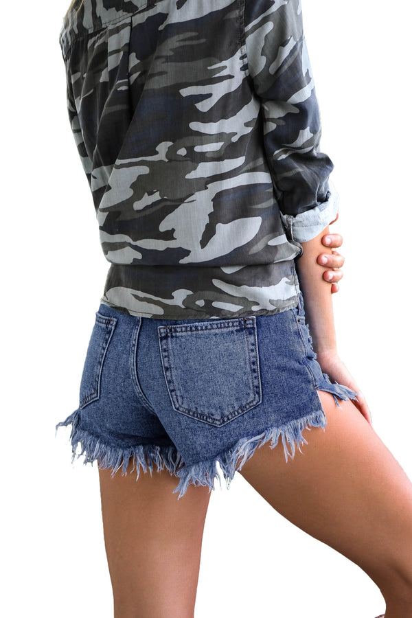 Women's Mid Rise Jeans Shorts Ripped Denim Shorts