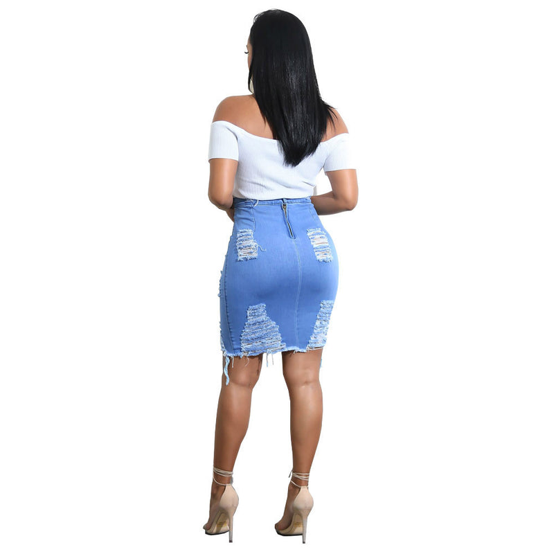 Popular Celebrity Encircle Hip Ripped Sexy Denim Skirt
