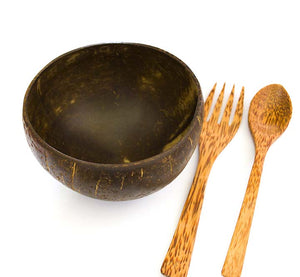 Coconut Bowl With Spoon, Fork