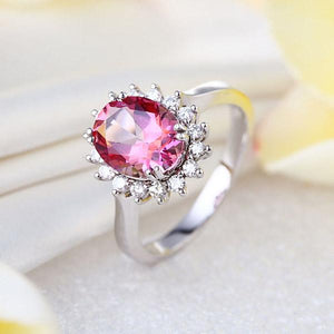 14K White Gold Wedding Engagement Ring 2.8 Ct Pink Topaz 0.35 Ct Natural Diamond | SpellBound Jewelers