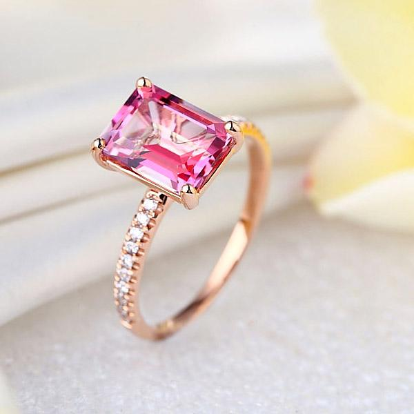 14K Rose Gold Wedding Engagement Ring 2.8 Ct Pink Topaz 0.16 Ct Natural Diamonds | SpellBound Jewelers