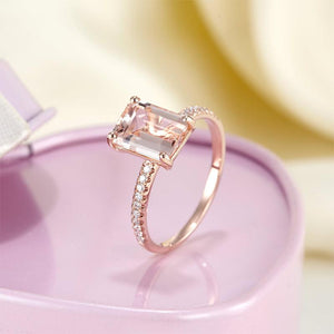 14K Rose Gold Wedding Engagement Emerald Cut 2.8 Ct Peach Morganite Ring  0.16 Ct Natural Diamonds | SpellBound Jewelers