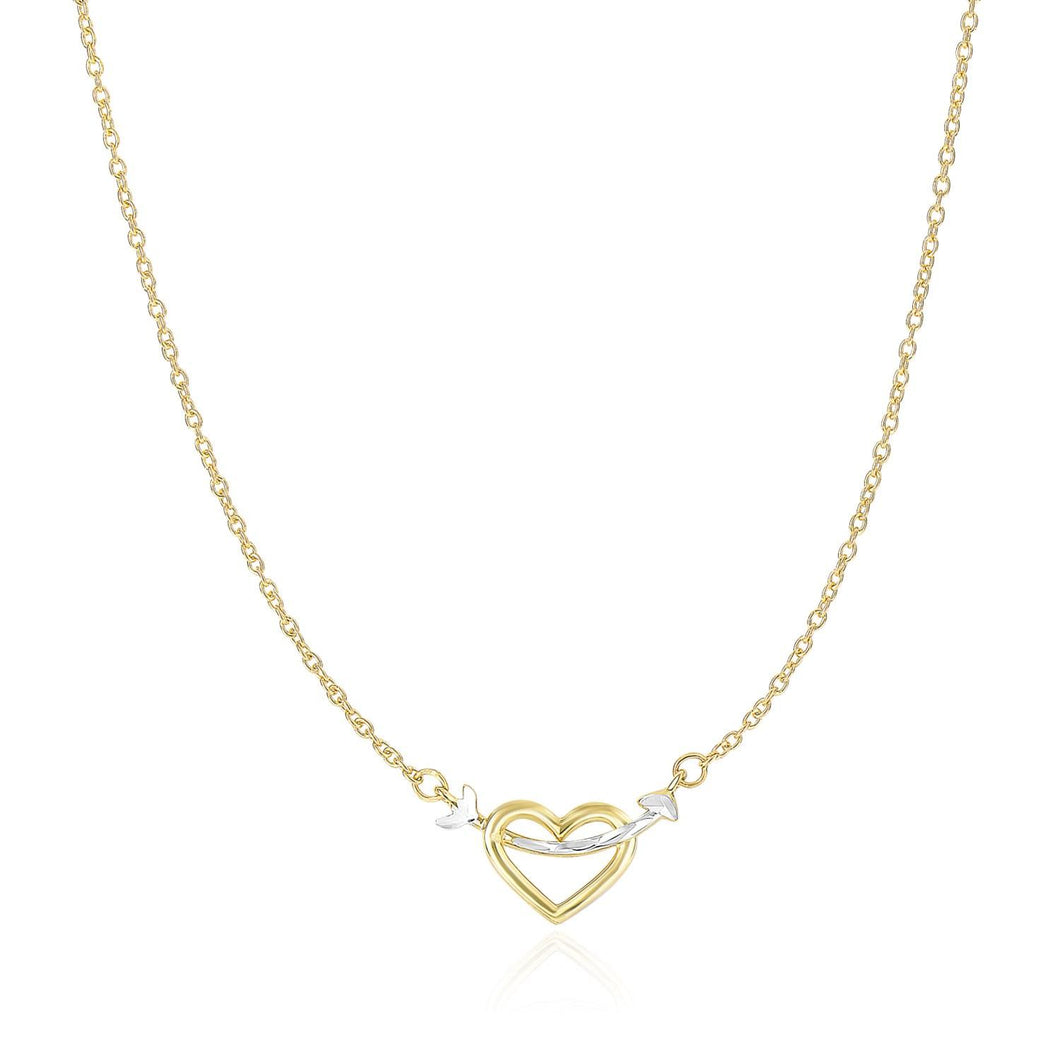 14k Two-Tone Gold Necklace with Interlaced Heart and Arrow Charm | SpellBound Jewelers
