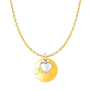Necklace with Mom Pendant and Heart in 10k Two Tone Gold | SpellBound Jewelers