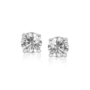 14k White Gold 8.0mm Round CZ Stud Earrings | SpellBound Jewelers