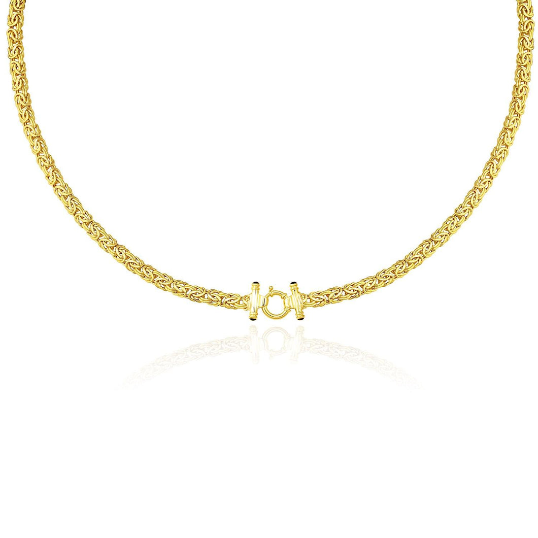 14k Yellow Gold Necklace with a Byzantine Style | SpellBound Jewelers