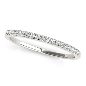 14k White Gold Scallop Pave Set Diamond Wedding Ring (1/8 cttw) | SpellBound Jewelers
