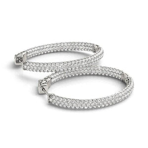 14k White Gold Diamond Hoop Double Sided Three Row Earrings (2 cttw) | SpellBound Jewelers