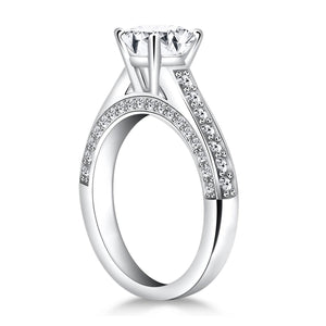 14k White Gold Pave Diamond Cathedral Engagement Ring | SpellBound Jewelers