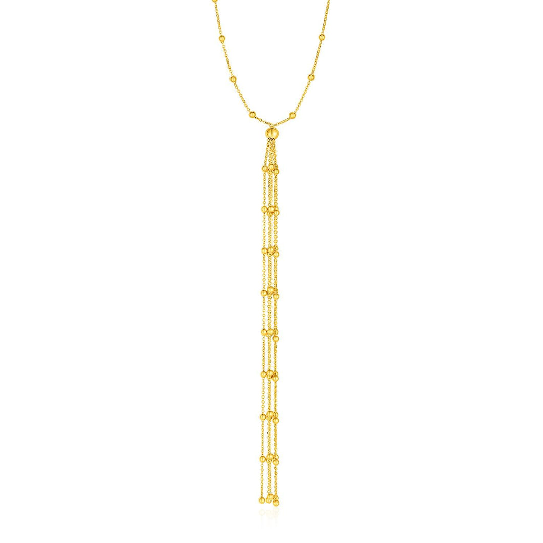 Lariat Necklace with Beads and Tassels in 14k Yellow Gold | SpellBound Jewelers