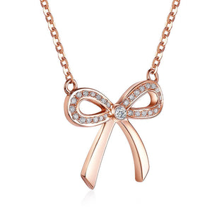 SpellBound Classic™ Golden Rose and Diamond Bow Necklace | SpellBound Jewelers