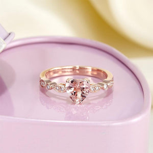 14K Rose Gold Engagement Ring 7 mm Heart Peach Morganite 0.1 Ct Natural Diamonds | SpellBound Jewelers