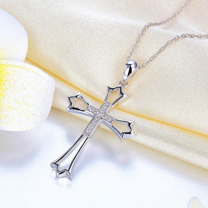 14K White Gold Cross Pendant Necklace 0.07 Ct Diamonds | SpellBound Jewelers