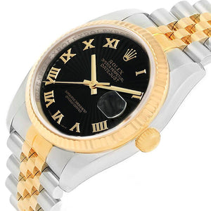 Pre-owned Independently Certified Rolex Steel/18ky Mens Blk Datejust | SpellBound Jewelers