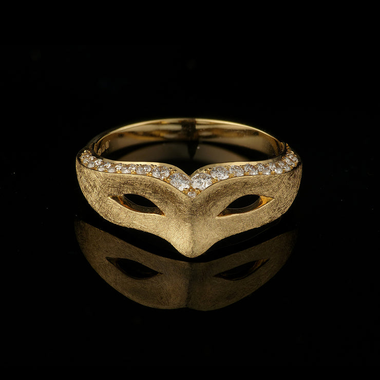 theatre mask gold engagement ring with diamond