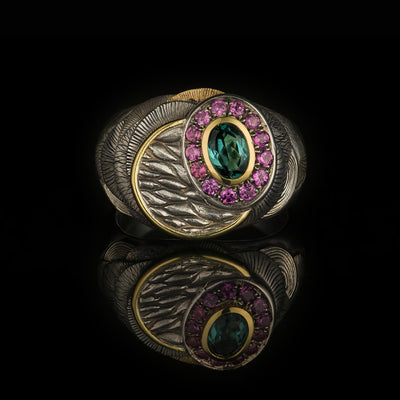 silver and gold signet ring with blue tourmaline and garnets, hand engraved